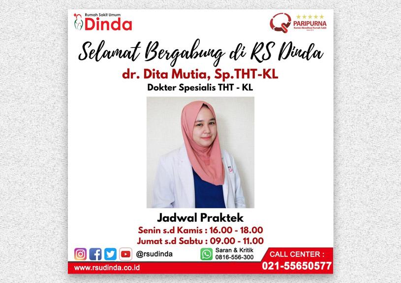 Selamat Bergabung dr. Dita Mutia, Sp.THT-KL